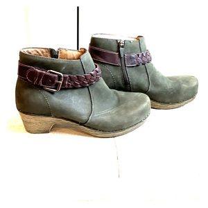 Dansko suede green booties/ braided trim-size 9